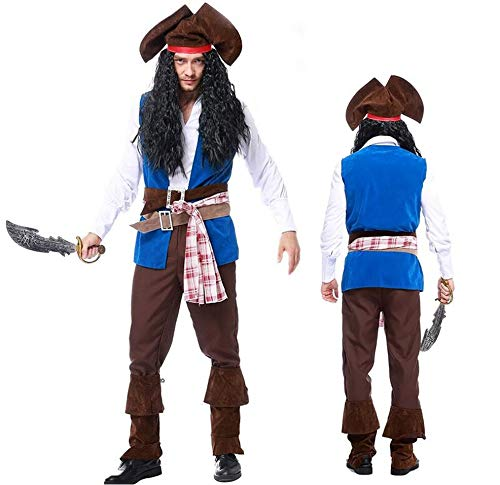 Men's Deluxe Pirate Captain Costume 9 Piece Set (X-Large)
