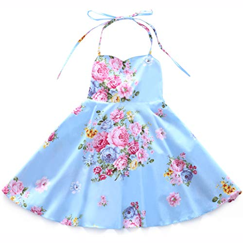 Flofallzique Girls Dress Vintage Summer Flower Baby Girls Clothes Holiday Party Toddler Dress