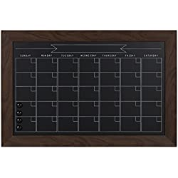 DesignOvation Beatrice Framed Magnetic Chalkboard Monthly Calendar, 18x27, Walnut Brown