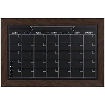DesignOvation Beatrice Framed Magnetic Chalkboard Monthly Calendar, 18x27, Walnut Brown