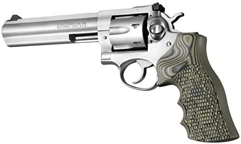 Hogue Ruger GP100/Super Redhawk Grip with Finger Grooves, Piranha, G10 -  G-Mascus, Green 80138