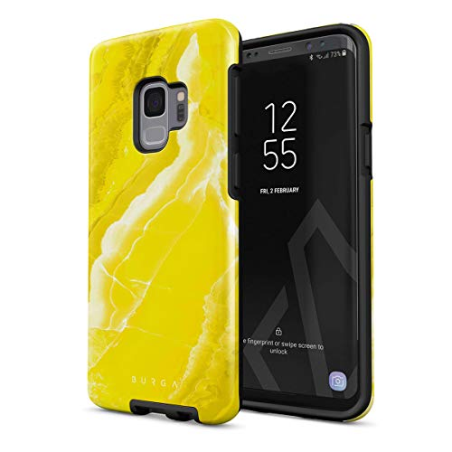 BURGA Phone Case Compatible with Samsung Galaxy S9 Neon Yellow Marble Citrus Stone Summer Vibes Cute for Girls Vivid Bright Heavy Duty Shockproof Dual Layer Hard Shell + Silicone Protective Cover