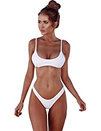 Womens Bandage Bikini Swimwear Brazilian Padded Top Swimsuit Solid Color Triangle Bottom Two Pieces Bathing Suit