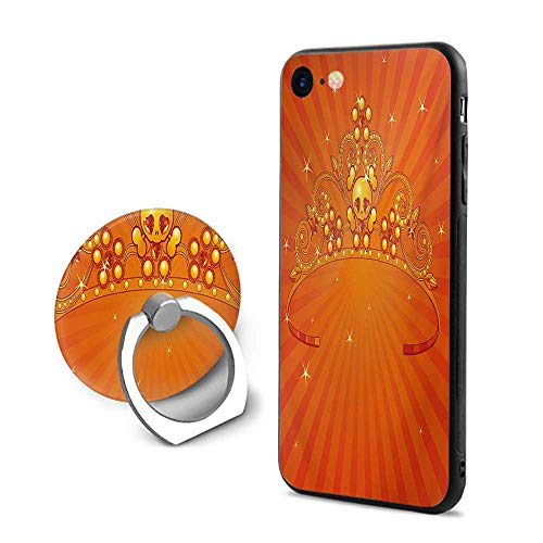 Queen iPhone 7/iPhone 8 Cases,Fancy Halloween Princess Crown with Little Skull Daisies on Radial Orange Backdrop Stars Orange,Design Mobile Phone Shell Ring Bracket ()