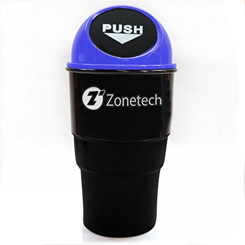 Zone Tech Portable Mini Car Garbage Can - Classic Black and Blue Premium Quality Black Universal Traveling Portable Car Trash Can