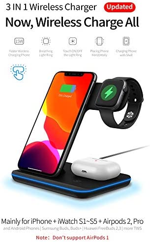 Any Warphone 3 in 1 Wireless Charging Stand for Latest Airpods iPhone and iWatch, Compatible for iPhone 11 Pro Max/X/XS Max/8 Apple Watch Charger 5/4/ 3/2 /1 Airpods 2/3 41qcxJShg6L
