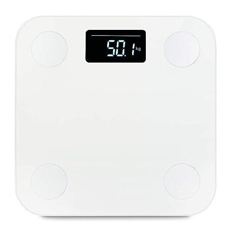 WMVVU Báscula De Baño Mini Inteligente Electrónica LCD Escala De Peso Grasa Corporal Báscula De Baño