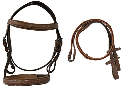 Fancy Stitched Mini English Padded Bridle with Web Reins (Tan)