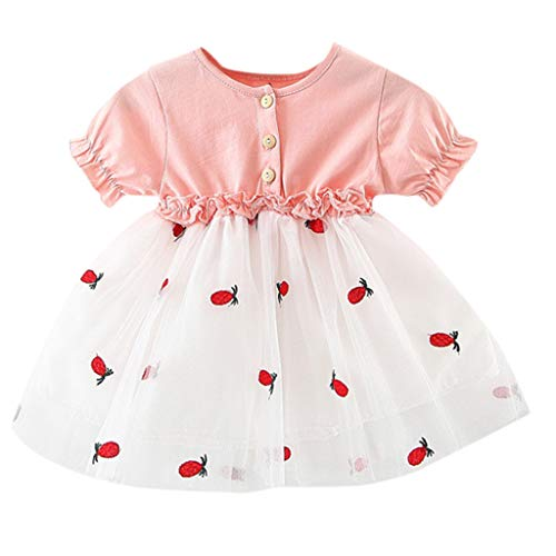 Sunhusing Infant Baby Frilled Short Sleeve Button Buckle Fruit Pineapple Embroidered Tulle Princess Dress Pink