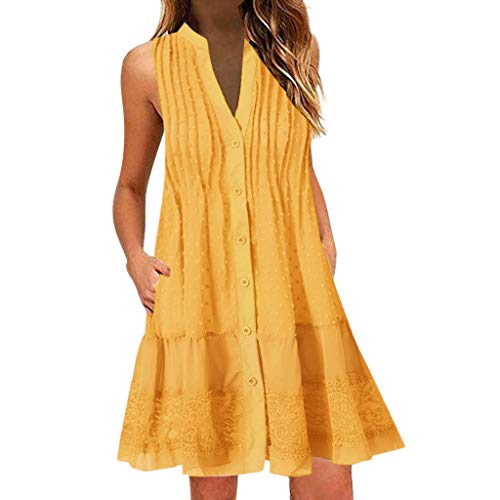 Opinionated Womens Ladies Casual O-Neck Printed Sleeveless Midi Dress Summer Loose Ruched Party Camis Dresses Beach Sundress Yellow