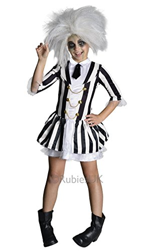 9 Costume Tim Burton (Beetlejuice + Wig Girls Fancy Dress Halloween Tim Burton Kids Childrens Costume (8-10 years))