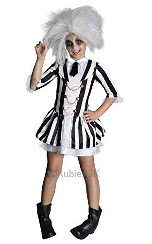 Beetlejuice + Wig Girls Fancy Dress Halloween Tim Burton Kids Childrens Costume (8-10 years)