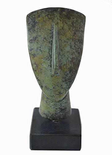 Cycladic bronze head ancient Greek reproduction miniature sculpture on marble by Talos Artifacts
