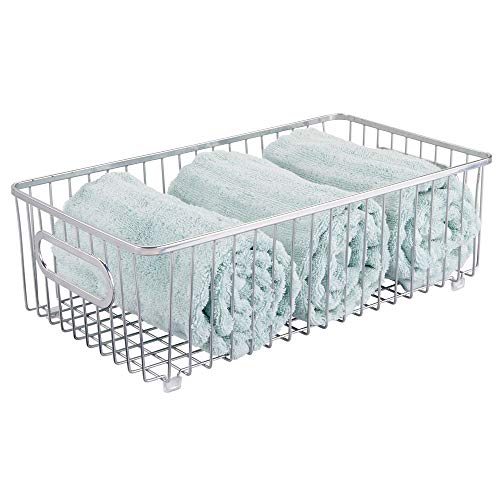 (mDesign Metal Bathroom Storage Organizer Basket Bin - Farmhouse Wire Grid Design - for Cabinets, Shelves, Closets, Vanity Countertops, Bedrooms, Under Sinks - Large - Chrome)