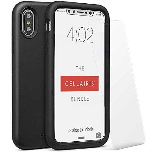 Cellairis - The Cellairis Bundle, Cell Phone Case for Apple iPhone X, for iPhone Xs (Black) - Triple Layer Protection - with a Scratch Resistant Tempered Glass Screen Protector from Cellairis
