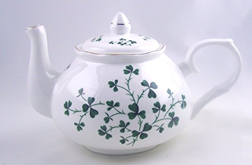 Celtic Shamrock Swirl Chintz Teapot - Fine English Bone China - Crown Trent, England