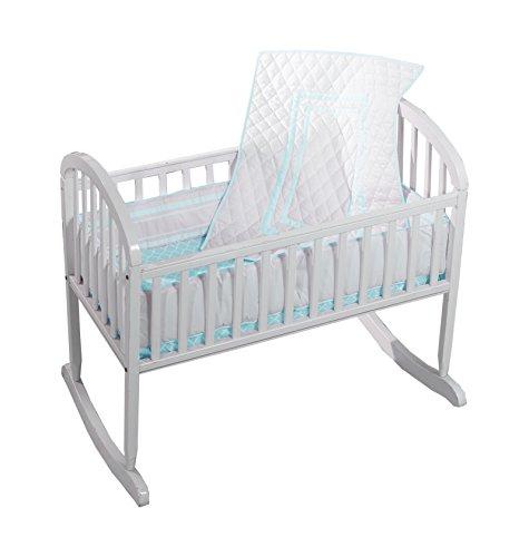 Baby Doll Bedding Soho Cradle Bedding Set with 100% cotton trellis design sheet, Blue - Antique Baby Bedding