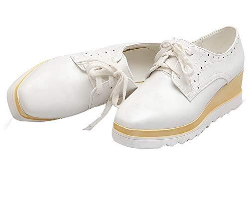 AllhqFashion Donna Puro Medio Allacciare Bianco Ballet Luccichio FBUIDD007061 Flats Tacco rrdPnq