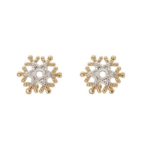 (Disney Frozen 14kt Yellow Gold Snowflake Stud Earrings)