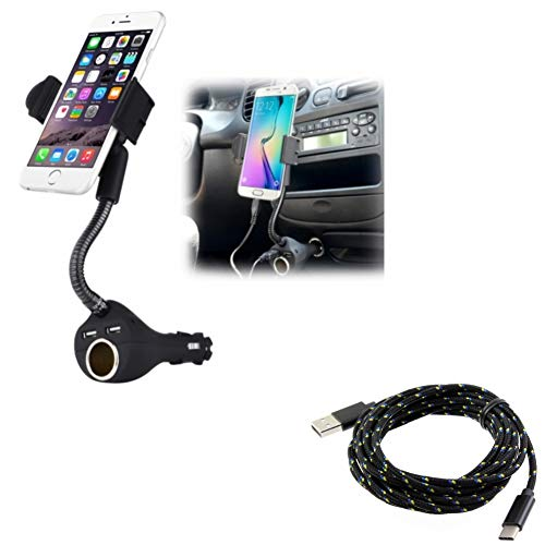 Car Mount Charger Socket Holder w Braided 10ft Long Type-C Cable Power Cord O5Q Compatible with Essential Phone (PH-1) - Google Pixel XL 3a XL 3 XL 2 XL - HTC Bolt, U11, 10, Life - Huawei P9