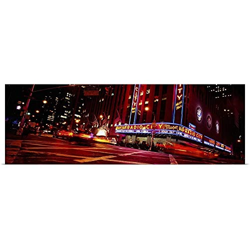 GREATBIGCANVAS Poster Print Entitled Low Angle View of Buildings lit up at Night, Radio City Music Hall, Rockefeller Center, Manhattan, New York City, New York State by 36