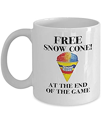 Free Snow Cone At The End Of The Game Funny Coffee Mug For Fan Of Comedian Brian Regan (Comedian Brian Regan)