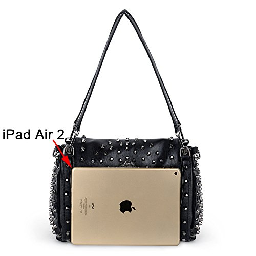Leather UTO Bag Bag Washed PU Ladies Black Skull Tote Studded 9 Rivet Women Purse Shoulder Style 1wq1rY