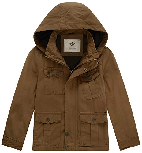 WenVen Boy's & Girl's Cotton Jackets with Removable Hood, Brown, 4-5Y