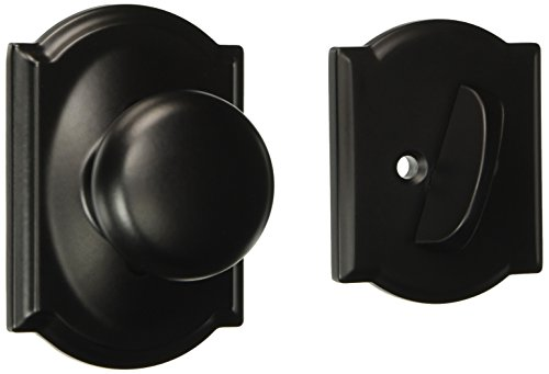 Schlage Lock Company F94PLY622CAM Plymouth Knob Dummy Interior Pack with Deadbolt Cover Plate, Matte Black ()