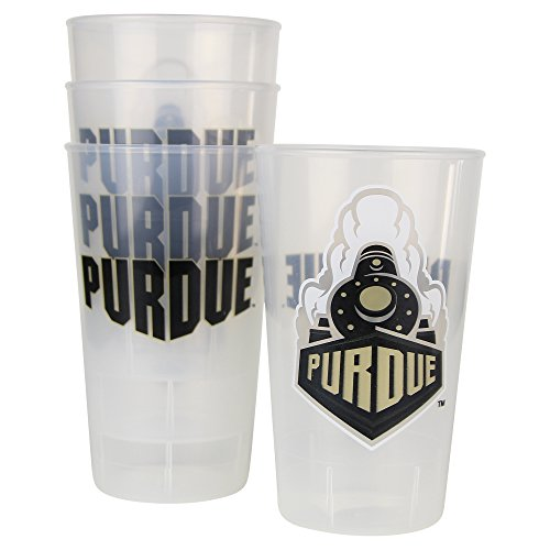 NCAA Frosted Plastic Tailgating Cups, 16oz.(4-Pack) (Purdue Boilermakers)