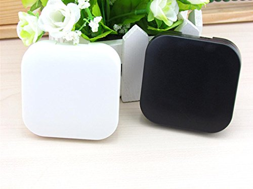 Contact Lens White (2PCS Portable Cute Pocket Mini Contact Lens Case Travel Kit Mirror Container(Black + White))