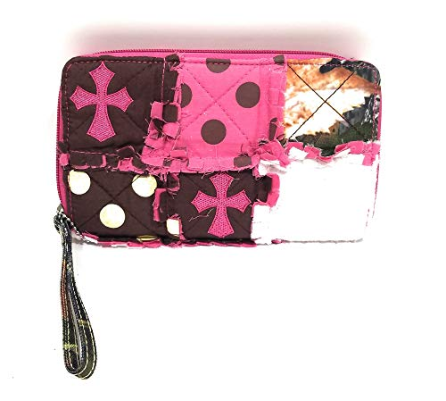 Mad Styles Jp Patchwork Ragbag Polka Dot Camo Zipper Wristlet Western Womens Wallet (Cross, Pink)