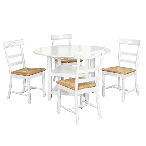 Target Marketing Systems Briana Modern Round Pedestal Dining Room Set, 5 Piece, White