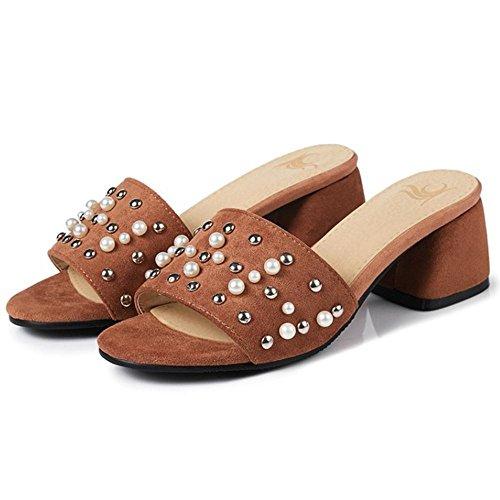Block Open Heel Caramel Toe Women TAOFFEN Mules a05HwFxq