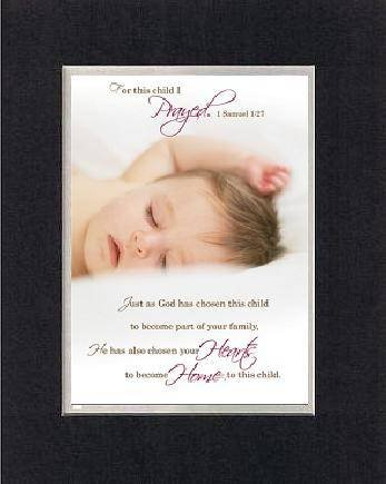 For Baby Dedication - For this child I Prayed 8 x 10 Inches Biblical/Religious Verses set in Double Beveled Matting (Black on White) - A Timeless and Priceless Poetry Keepsake Collection ()