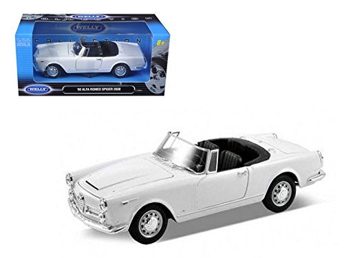 Welly 24003CW-W 1960 Alfa Romeo Spider 2600 Convertible White 1/24 Diecast Car Model
