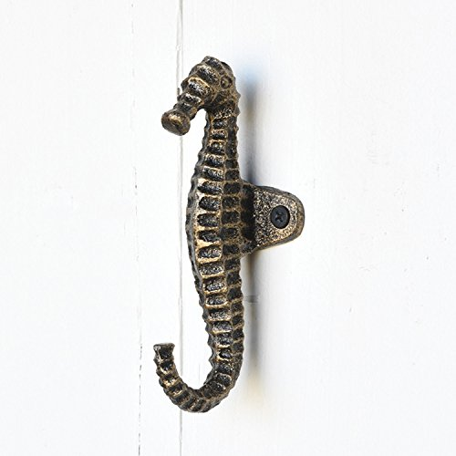 Brass White Seahorse Iron Wall Hook Set 4 | Towel Hanger Beach Gold Bronze by My Swanky Home (Image #4)