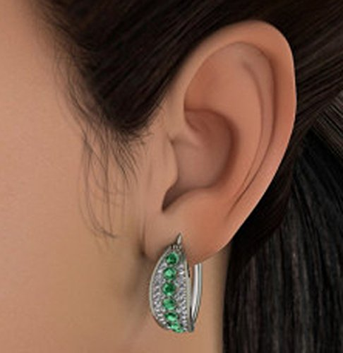 Or blanc 18K 0.372CT TW Round-cut-diamond (IJ | SI) et émeraude Boucles d'oreilles créoles
