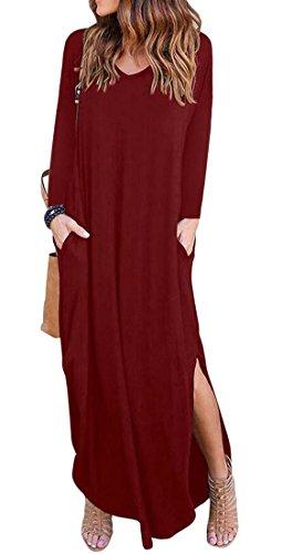 Maxi Vestito Collo Tasche Delle Domple Con Vino V Allentato Rosso Lungo Casuale Fessura Donne Lato IwSStT
