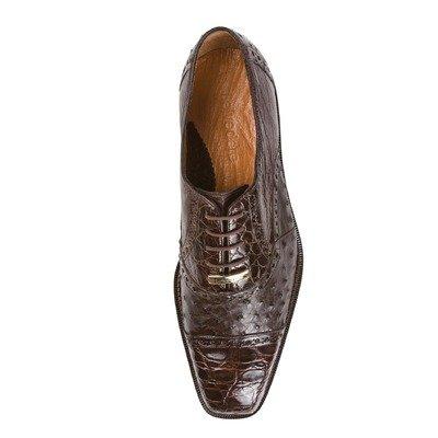 Belvedere Onesto II Genuine Ostrich and Crocodile Oxford Shoe (10, (Mens Brown Belvedere)