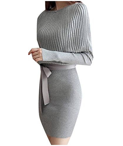 Colored Womens Sexy Pullover Wild Solid Knitting Comfy Dress Party Grey xtqOwUq