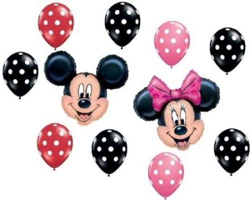 MICKEY MINNIE MOUSE Red Black Pink Polka Dots Heads Mylar Latex Balloons Set Kit ()