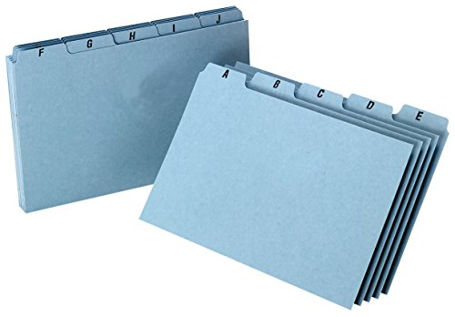 Oxford A-Z Index Card Guide Set, 5 x 8 Inches, Blue Pressboard, 25 per Set (P5825)