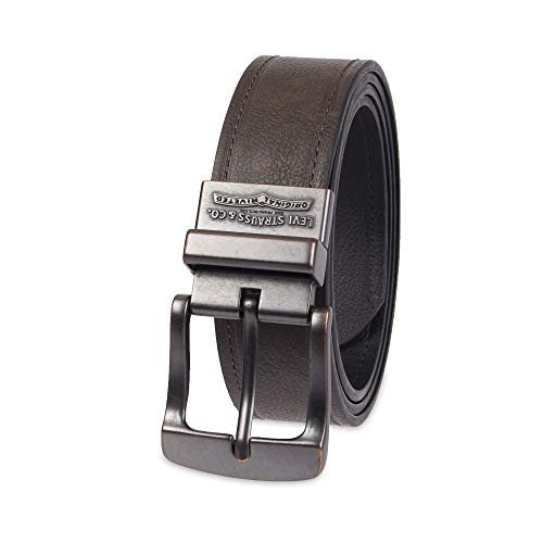 Levis Leather - Levi's Men's 1.5 in. Reversible Leather Belt With Logo, Black/Dark Brown, X-Large
