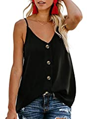 BLENCOT Women's Button Down V Neck Strappy Tank Tops Loose Casual Sleeveless Shirts Blouses  5 available size S: US 4-6 M: US 8-10 L: US 12-14 XL: US 16-18 XXL: US 18-20 Hope you have a pleasant shopping experience in BLENCOT!