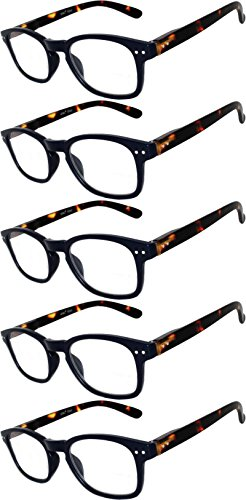 Readers 5 Pack of Elegant Womens Mens Reading Glasses with Beautiful Patterns for Ladies and Gentlemens Deluxe Spring Hinge Stylish Look 180 Day Guarantee - Reading Cheap Designer Glasses