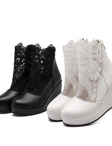 A Cuñas Moda Cn43 Cuña 5 Eu42 White Mujer Vestido us10 Tacón De Blanco Xzz Punta Zapatos Semicuero Botas Encaje Redonda La Negro Uk8 5 nwqPgXxzg