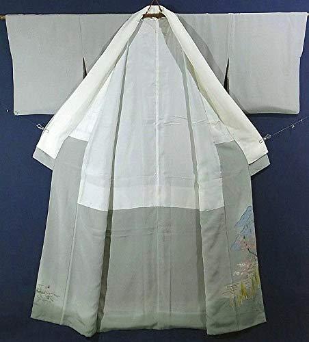 リサイクル 着物 色留袖 本加賀友禅 柿本市郎 風景文 一つ紋 裄71cm 身丈154cm 正絹 袷