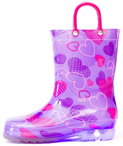 Outee Girls Kids Toddler Rain Boots Light Up Printed Waterproof Shoes Lightweight Cute Purple Hearts with Easy-On Handles and Insole (Size 1,Purple)