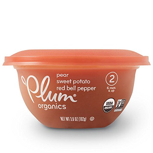 (Plum Organics Baby Stage 2 Bowl, Organic Baby Food, Pear, Sweet Potato & Red Bell Pepper, 3.6 ounce bowl (Pack of 12))